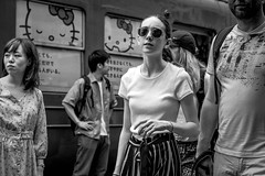 Tokyo 2019 (burnt dirt) Tags: shibuya tokyo japan asia japanese asian candid documentary street photography downtown metro urban city scramble crossing outdoor people person fujifilm xt3 fujinon 50mm f2 bw blackandwhite monotone monochrome woman girl smile laugh train station style fashion life real crowd tourist emotion expression portrait close nippon sunglasses