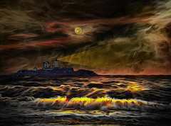 Night Scene at Sea (Rusty Russ) Tags: lighthouse beam ocean waves moon might cloud landscape maine seascape colorful day digital flickr country bright happy colour scenic america world sunset sky red nature blue white tree green art light sun park summer old new photoshop google bing yahoo stumbleupon getty national geographic creative composite manipulation hue pinterest blog twitter comons wiki pixel artistic topaz filter on1 sunshine image reddit tinder russ seidel facebook timber unique unusual fascinating