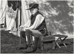 military history revisited (Bluescruiser1949) Tags: historical military 1800s kingston ontario canada blackwhitephotography blackandwhite blackwhite wanderingaboutphotography puptents offduty resting actor soldier photoop