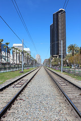 Trolley Tracks - San Diego, California (russ david) Tags: san diego trolley mass transportation system tracks california ca travel city architecture palm trees march 2019