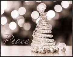 Peace (Karen_Chappell) Tags: xmas noel christmas bw monochrome monotone bokeh christmastree decoration decor ornament bells stilllife jinglebells glitter december product canonef24105mmf4lisusm holiday