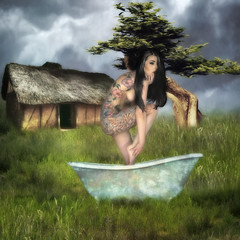 Stormy (larwbuck) Tags: architecture artistic boudoir clouds composite fantasy grass model painterly structure tatoos textures tree