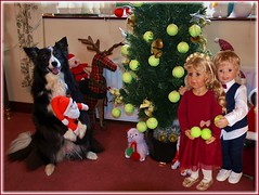 Brauchst du noch ein paar Tennisbälle, Asha ? / Do you need a few more tennis balls, Asha ? (ursula.valtiner) Tags: puppe doll luis bärbel künstlerpuppe masterpiecedoll hund dog bordercollie asha conniekells advent christmas weihnachten christmastree weihnachtsbaum tennisbälle tennisballs