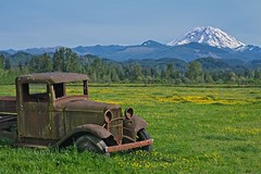 Rusted Jalopy Mt Rainier 4987 A (jim.choate59) Tags: jchoate on1pics rust jalopy mountain field spring decay rural d610 springtime oldcar landscape