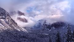 Breakthrough | Yosemite (v on life) Tags: yosemite yosemitenationalpark california winter snow tunnelview pano panorama panoramic clouds storm mist trees elcapitan frozen
