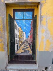 Funchal - door (peterkaroblis) Tags: porta door tür funchal madeira portugal eingang entrance entrada gelb yellow amarelo blau blue azul pintura malerei painting
