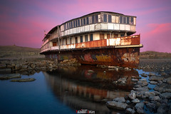 Remnants of the past (zaxarou77) Tags: landscape nature ship old blue pink sunset water clouds mirror sony sonyclub ilce a7 a7m2 a7mii carl zeiss carlzeiss 1635 sel fe fe1635f4 russia crimea