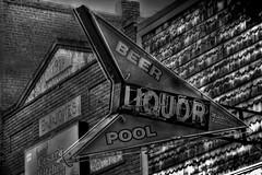 Beer & Pool. (Tim @ Photovisions) Tags: xt1 sign fuji liquor fujifilm building pool nebraska monochrome blackandwhite