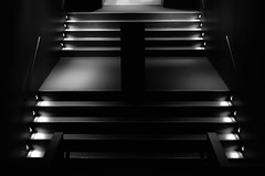 stairs in the dark (christikren) Tags: absoluteblackandwhite abstract dark christikren stairs stairsup light germany museum panasonicfz1000 minimal black lines mono geometry art design sehenswürdigkeiten