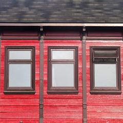 a little air supply (msdonnalee) Tags: window ventana janela finestra fenêtre fenster shingledroof woodsiding red rot rosa rouge rojo facade facciate architecturaldetail