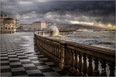 A Rainy Day in Leghorn (Italy)  [EXPLORE, Dec 23, 2019 #22] (BlueMaury) Tags: livorno leghorn italy tuscany rain sea wawe terrazzamascagni clouds landscape seaside liberty storm stormyday rainyday maurizioantonetti explore