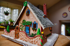 Christmas is almost here! (ineedathis, Everyday I get up, it's a great day!) Tags: storybookhome 2016gingerbreadhouse snowman frontgate frontentrance atticeyewindow logs logsplittier axe steppingstones fence stonefence window decor slate lightposts heart ivyclimber carrot stones eave roof royalicing buttons bricks coal gingerbreadhouse christmas christmastree snow flowers miniature sugarwork gum paste modeling baking nikond750 closeup ivy glitter fairytalecottage