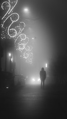 A dangerous Christmas (PhlippeC.) Tags: street city urban lights reims marne monochrome fog night blackwhite rue nuit brouillard noirblanc stphotographia
