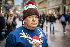 Merry Pudding (Leanne Boulton) Tags: christmas happychristmas merrychristmas happyholidays urban street candid portrait portraiture streetphotography candidstreetphotography candidportrait streetportrait eyecontact candideyecontact streetlife man male face eyes expression mood emotion feeling humbug moody juxtaposition christmasjumper sweater hat christmaspudding fun humour humorous season cold winter weather tone texture detail depthoffield bokeh style fashion naturallight outdoor light shade city scene human life living humanity society culture lifestyle people canon canon5dmkiii 70mm ef2470mmf28liiusm colour glasgow scotland uk
