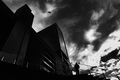 DSC05593A Urban space (soyokazeojisan) Tags: japan osaka city street sky light clouds people bw blackandwhite monochrome digital buildings sony rx100ⅵ 2019