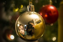 Family (Valentina Conte) Tags: macromondays bestwithholidaysis family daughter christ christmas love decorations christmastree gold golden ball xmas time relax holidays balls decorative mirror selfie reflection home life familymoments valentinaconte canon100d rebelsl1 lights
