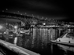 Midnight bridge (World-viewer) Tags: night evening bw mono monochrome blackandwhite iphone iphone8 iphone8plus plus ocean bridge steel boats boat marine harbor harbour ngc travel wander explore vancouver canada beautiful pier city urban cityscape architecture