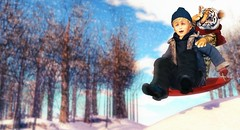 Imagination takes you everywhere. (Skippy Beresford) Tags: boy child children childhood kid kids stuffedtiger calvinandhobbes calvin hobbes tiger adventure explorer explore snow sled winter imagination soar creativity play light love