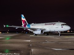 Eurowings OE-LYY HAJ at Night (U. Heinze) Tags: aircraft airlines airways airplane flugzeug planespotting plane haj hannoverlangenhagenairporthaj eddv olympus omd em1markii 12100mm night nightshot