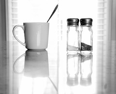 On the Kitchen Counter (WilliamND4) Tags: blackandwhite salt pepper cup reflection nikon d750