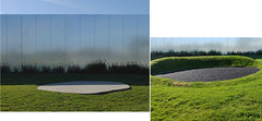 Landscape fragment (michelle@c) Tags: reflection museum architecture facade garden aluminium bulding contemporan grass tarmac earth mining architect crater area former sanaa 2012 rehabilitation 2019 landscapedesigner catherinemosbach lelouvrelens nbr9 ©michellecourteau landscape manmade diptych pite