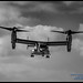 V-22 OSPREY AGAINST THE CLOUDS IN BLACK & WHITE