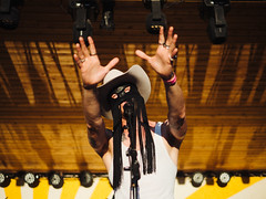 Orville Peck (Zack Huggins) Tags: olympusomdem5markii panasonicleicadgsummilux25mmf14 vscofilm pack01 marfatx elcosmico transpecosfestival orvillepeck concert musicfestival musician musicfest cowboy countrywesternmusic country portrait bokeh dof microfourthirds rnifilms reach show livemusic fringe leather longrangermask mask hands sunset sing singer spookycrooner