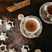 Two cups of tea with star shaped cookies