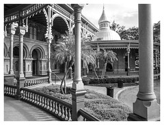 Ornate Portico (kinglear55) Tags: universityoftampa blackandwhite monochrome portico architecture adobe elements panasoniclx7 tampa texture