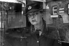 'Eleanor' (AndrewPaul_@Oxford) Tags: bluebell railway sheffield park wraf womens royal air force reflection window frame layers environmental portrait southern railways 1940s