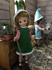 6. Sweeping the barn (Foxy Belle) Tags: christmas barn reindeer santa diorama doll 16 scale vintage felt betsy mccall tiny 9 elf costume handmade sew ooak wooden hay team caribou flocked miniature animal scene window