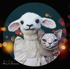 A festive portrait 🐑🐈 (pure_embers) Tags: pure embers laura uk pureembers photography cat kitty sculpture anthropomorphic portrait cute sphynx textile sphinx ekaterina england whimsical lamb sheep taxidermy animal mary doll collector adele morse