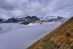 Into the clouds (evakatharina12) Tags: zermatt wallis valais switzerland mountains alps trail path hike mist fog clouds