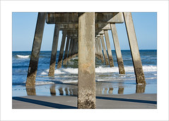 Under Jax's Pier (prendergasttony) Tags: jacksonville florida usa america nikon d7200 tonyprendergast elements beach sea sand shadows lines angles water atlantic ocean outdoors reflection blue sunlight symmetry