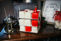 White and red Christmas marshmallow with coconut (shixart1985) Tags: food sweet sugar desktop plate cake coconut cube junk marshmallow nobody stack drink christmas decoration homemade kitchen delicious dinner cap colorful beautiful creative creativity