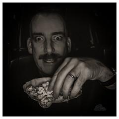Movie Night (_Matt_T_) Tags: iphone dailyindecember relax enjoy popcorn treat 365 bw selfie movie holidays