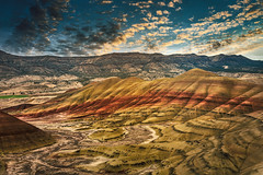 Painted Hills Sunrise (larwbuck) Tags: landscape oregon autumn clouds colors fall hills mountain nationalmonument outdoors rural sunrise travel