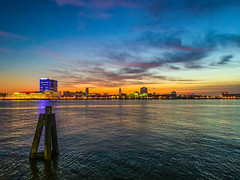 Penns Landing Sunrise (dweible1109) Tags: skyscape skyline sky cloudscape clouds scenic landscape cellphonephoto iphone magichour sunrise delawareriver pennsylvania philadelphia pennslanding