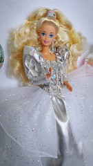 Happy Holidays Cristalline Barbie #1429 from 1992 (VintageZealot) Tags: barbie mattel merry christmas happy holidays cristalline 1992 1990s 90s 1429 holiday vintage retro fashion doll clothing clothes outfit model modelling china caucasian blonde superstar super star velcro white silver grey sparkly shiny metallic mesh sheer underskirt overskirt over under skirt dress ball gown ballgown crystal pearl diamond pumps hairband hair band poofy sleeves dots jewelry ring earring earrings winter iridescent jewel