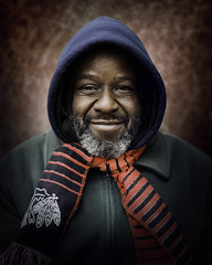 Andrew (mckenziemedia) Tags: man portrait portraiture face smile scarf coat street streetphotography chicago city urban people humanity homeless homelessness