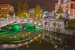 Ljubljana Slovenia Night Reflection DSC_6904 (JKIESECKER) Tags: slovenia ljubljana cityscenes citylife citystreets cityscapes city citynighttime cityskyline europe water reflection