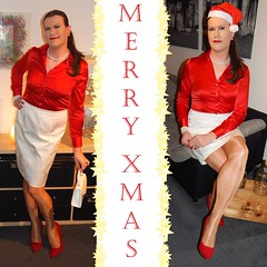 I wish all of you a Merry Christmas!!! (Rikky_Satin) Tags: silk satin blouse skirt crossdresser crossdressing pantyhose shiny pumps highheels tgirl tgurl gurl