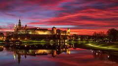 Wawel (Paweł Gałka) Tags: wawel kraków cracow castle river wisła vistula sunrise clouds unesco sky blue red water landscape landschaft long exposure