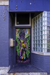 The Rainbow Dress (aerojad) Tags: eos canon 80d dslr 2019 autumn outdoors chicago murals art artinpublicplaces streetphotography streetart streetscape doors doorway