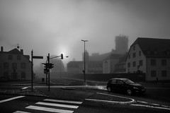 Crossroads, raven, monastery & the fog (Black&Light Streetphotographie) Tags: mono monochrome urban lichtundschatten lightandshadows tiefenschärfe wow sony streetshots streets streetshooting street schwarzweis streetportrait streetphotographie sw sonya7rii depthoffield dof fullframe city closeup blackandwhite bw blackwhite bokeh bokehlicious blur blurring