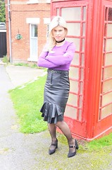 I've been given this tight leather skirt as an early Christmas present. Do you think it suits me? BTW happy Christmas for all my friends and followers xx Photo by Lord Q (Miss Nina Jay) Tags: heels leather skirt tights