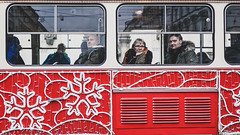 a short story about Christmas (ignacy50.pl) Tags: street tram cablecar window people faces christmas decoration colorful brno