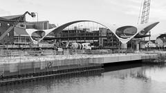 Bridges to cross (Rob Oo) Tags: england unitedkingdom ccby40 hull kingstonuponhull uk yorkshire ro016b bridgestocross bridge architecture construction blackandwhite
