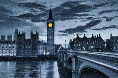Happy Holidays! (Jim_Nix) Tags: london england bigben unitedkingdom travel westminster westminsterbridge monochrome snowy landmark luminar art