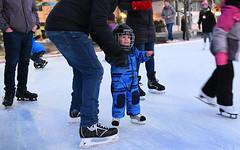 Future NHL Star (Anthony Mark Images) Tags: skatingrink skaters skating learningtoskate littleboy dad father son bauer hockeyskates haockeyhelmet bluesnowsuit cutelittleboy child cute icerink ice waterloosquare waterloo ontario canada portrait people nikon d850 evening night flickrclickx